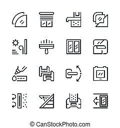 línea, conjunto, ventana, iconos