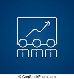 línea, crecimiento, icon., empresa / negocio