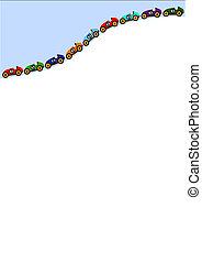 línea curva, afuera, de, coches, en, el, cima