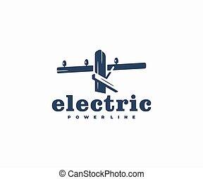 línea de alimentación, poste, de madera, eléctrico, diseño, ...