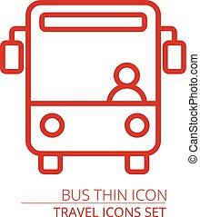 línea de autobús, vector, delgado, icono