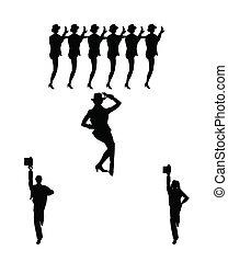 línea de coro, bailarines