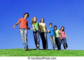 línea, de, diverso, niños, manos de valor en cartera