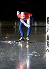 línea de salida, patinador de la velocidad