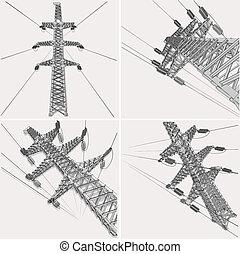 línea de transmisión de potencia, vector