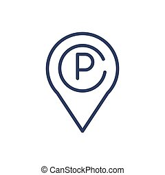 línea, delgado, terreno, estacionamiento, indicador, icono