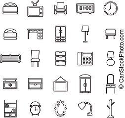 línea, dormitorio, fondo blanco, iconos