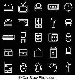 línea, dormitorio, fondo negro, iconos