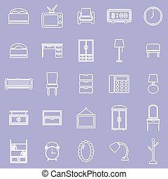 línea, dormitorio, violeta, plano de fondo, iconos