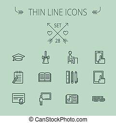 línea, educación, conjunto, delgado, icono