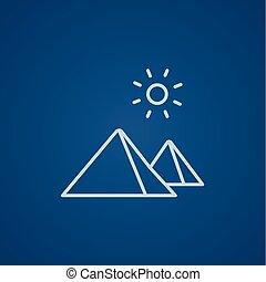línea, egipcio, icon., pirámides