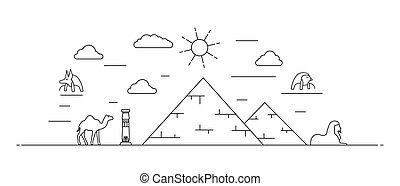 línea, egipto, panorama, estilo