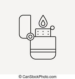 línea, encendedor, icono