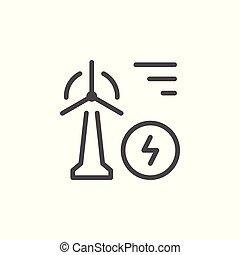 línea, energía eólica, icono