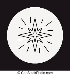 línea, espacio, estrella, icono