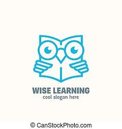 línea, estilo, elegante, educación, resumen, vector, logotipo, template., aprendizaje, emblem., contorno, sabio, búho, libro de lectura, concepto, con, typography.