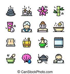 línea fina, balneario, iconos, conjunto, vector, ilustración