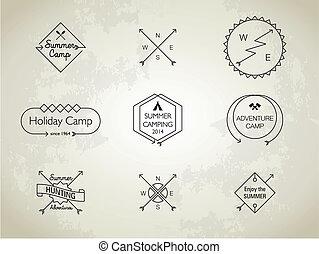 línea fina, campo verano, themed, insignias