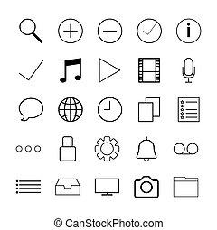 línea fina, iconos, para, tela