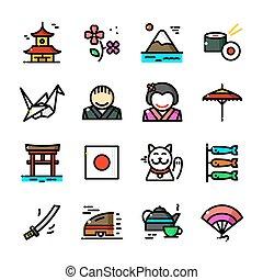 línea fina, japón, iconos, conjunto, vector, ilustración