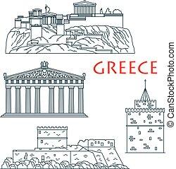 línea fina, señales, antiguo, viaje, grecia, icono