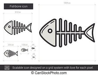 línea, fishbone, icon.