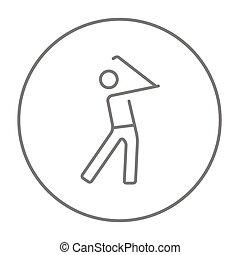 línea, golfista, icon.