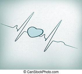 línea, gráfico, ecg, corazón, cerceta