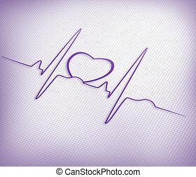 línea, gráfico, ecg, corazón, púrpura