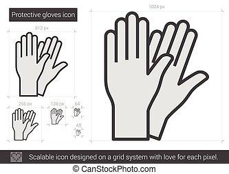 línea, guantes protectores, icon.