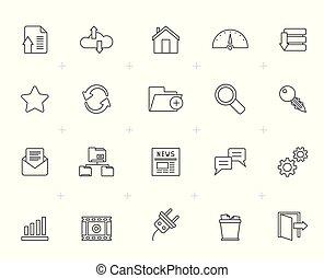 línea, hosting, servidor, y, iconos del internet