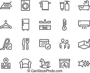 línea, hotel, iconos