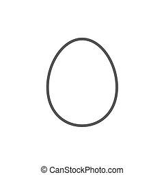 línea, huevo, icon.