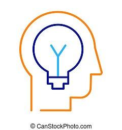 línea, icono, idea, delgado, generación, vector, innovación