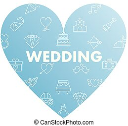 línea, iconos, en, corazón, forma., boda