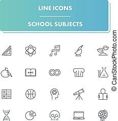 línea, iconos, set., escuela sujeta