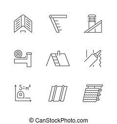 línea, iconos, techo, contorno, conjunto
