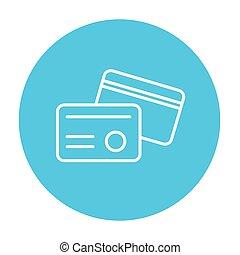 línea, identificación, icon., tarjeta