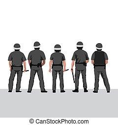 línea, illustration., estantes, vector, policía, policías, ...