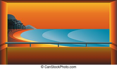 línea, ilustración, paisaje, árboles, palma, océano, ocaso, contra, resort., playa, tropical, barandillas, balcón, vector, montañas