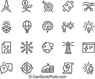 línea, inicio, iconos