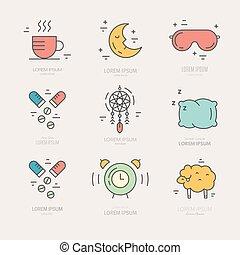 línea, insomnio, iconos