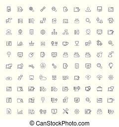 línea, internet, sitio web, y, interfaz de usuario, iconos