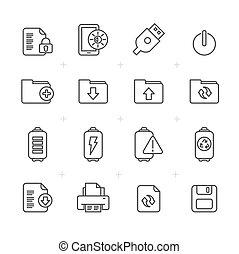 línea, internet, tela, y, móvil, iconos
