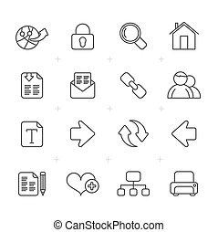 línea, internet, y, navegación de web, iconos