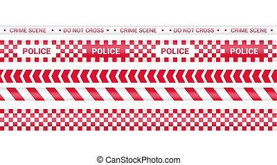 línea., isolated., ribbons., advertencia, rojo, policía, tapes., líneas, peligro, cinta, illustration., vector, conjunto, barricada, precaución, crimen