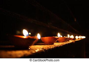 línea, lámparas, diwali