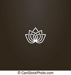 línea, loto, vector, arte, resumen, simple, señal, flor,...