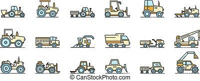 línea, máquinas, vector, agrícola, iconos, conjunto, color