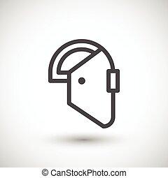 línea, máscara soldadura, icono